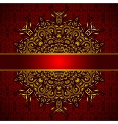 Golden medallion red card vector