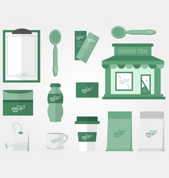 green tea accessories in flat style cafe vector image