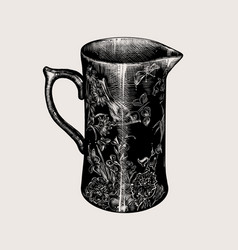 hand drawn sketch a jug with flowers isolated vector image