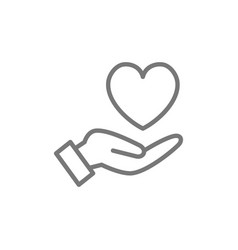 Hand holds heart care kindness charity donation vector
