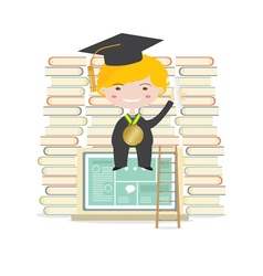 Happy Students Sit On Laptop With Books vector