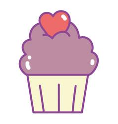 happy valentines day sweet chocolate cupcake vector image