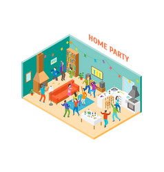 home party interior with furniture and people vector image