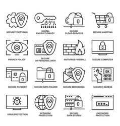 Internet security information protection icons vector