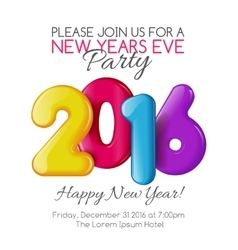 Invitation to New Year party with color numbers vector