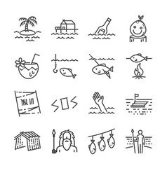 Island survival line icon set vector