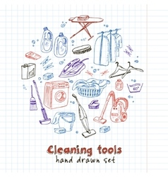 Laundry themed doodle set vector image