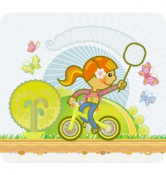 little girl on a bicycle vector image vector image