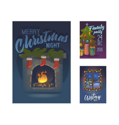 merry christmas 2019 party poster invitation vector image
