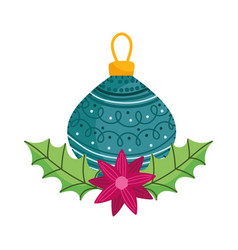 Merry christmas celebration ball flower leaves vector