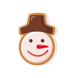 Merry christmas snowman gingerbread cookie icon vector