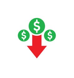 Money dollar down arrow falling finance graphic vector