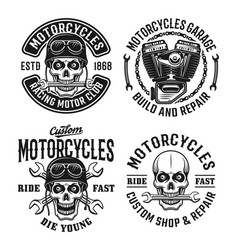 Motorcycles set emblems labels or badges vector