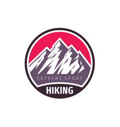 mountains hiking extreme sport - concept badge vector image