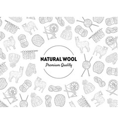 natural wool banner template with knitting hand vector image