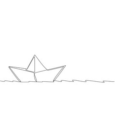 one continuous line drawing paper boat sailing vector image