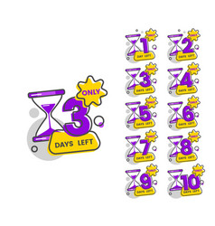 Only 3 days left - set numbers from 1 to 10 vector