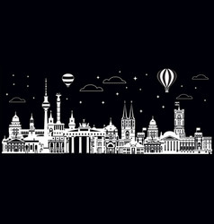 panoramic berlin skyline black vector image