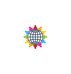 people globe logo icon design vector image