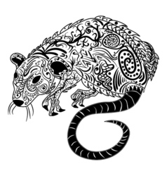 Rat chinese zodiac sign zentangle stylized vector image
