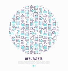 Real estate concept in circle with thin line icons vector