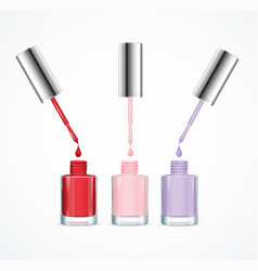 realistic detailed 3d color nail polish set vector image