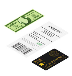 receipt dollar banknote and bank credit card vector image