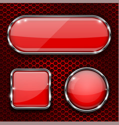 Red glass 3d buttons with chrome frame on metal vector