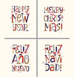 retro new year and christmas english and spanish vector image