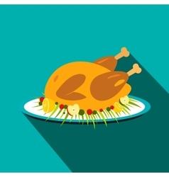Roasted turkey icon vector
