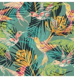 Seamless exotic pattern with abstract palm leaves vector