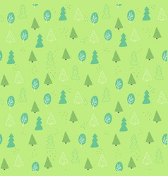 seamless pattern of green tree in hand drawn style vector image