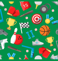 seamless pattern with different sport equipment vector image