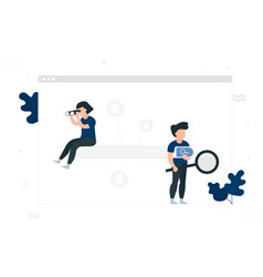 search engine concept people with magnifying vector image