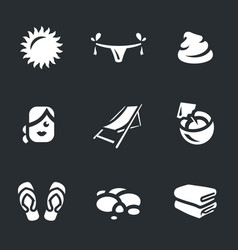 set beach icons vector image