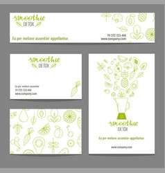 set business cards with fruits and vegetables vector image