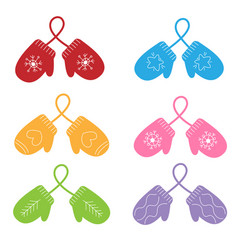 Set cute colorful pairs mittens winter vector