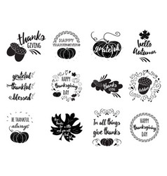 set thanksgiving wishes overlays vector image