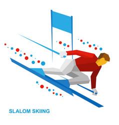 Slalom skiing sportsman ski slope down vector