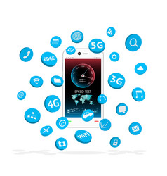 Smartphone with apps icon floating vector