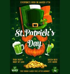 St patricks day signs irish flag leprechaun beer vector