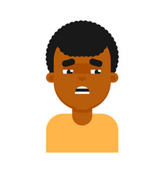tired facial expression of black boy avatar vector image