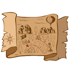 Treasure map on brown paper vector