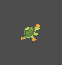 turtle run on black background vector image