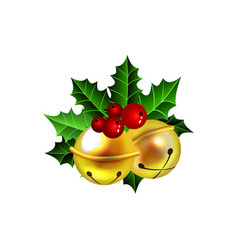 Two golden jingle bells with red ribbon vector