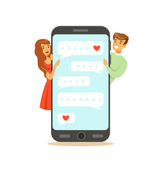 Two lovers standing near a big smartphone and vector