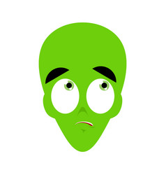 ufo surprised emoji green alien face astonished vector image