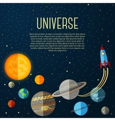 Universe banner with solar system stars and space vector