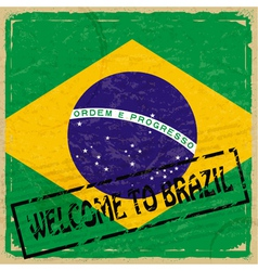 Vintage background with flag of Brazil vector image