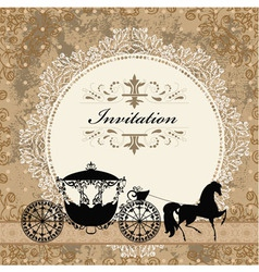 Vintage carriage invitation card vector image